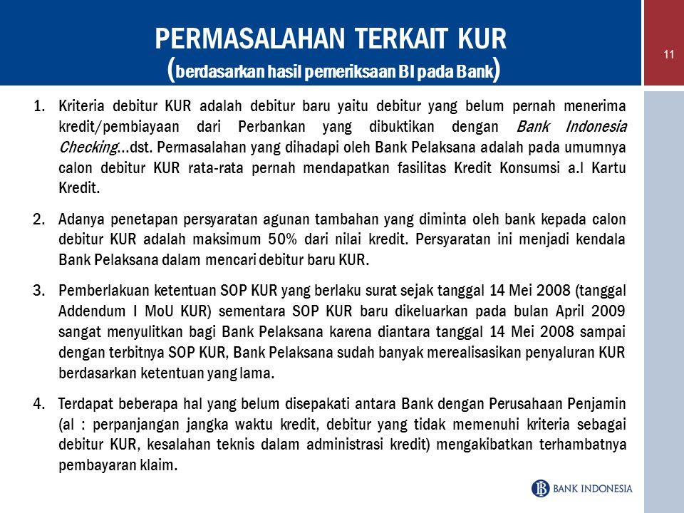 PERMASALAHAN TERKAIT KUR (berdasarkan hasil pemeriksaan BI pada Bank)