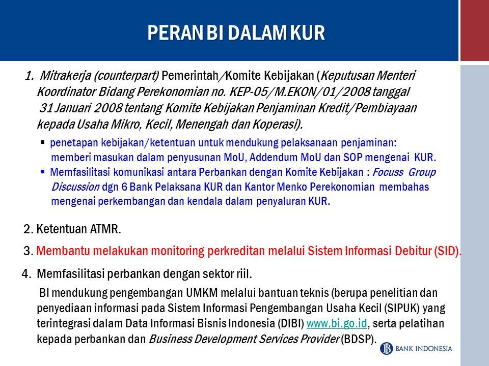 PERAN BI DALAM KUR Mitrakerja (counterpart) Pemerintah/Komite Kebijakan (Keputusan Menteri.