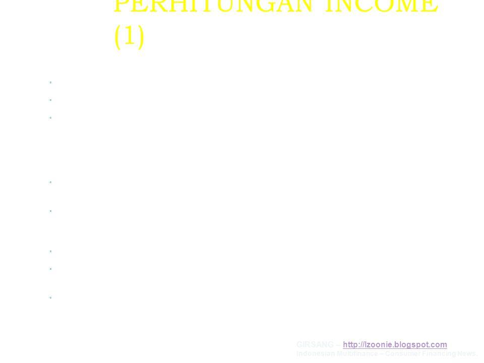 PERHITUNGAN INCOME (1) KOSUMEN KARYAWAN Gaji Pokok,