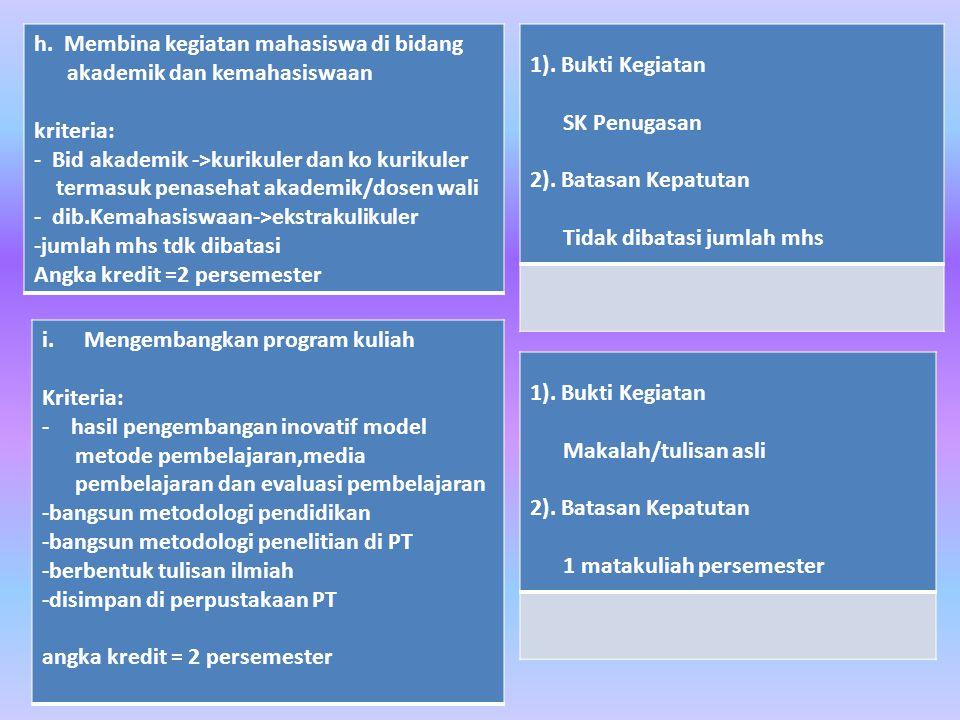 h. Membina kegiatan mahasiswa di bidang