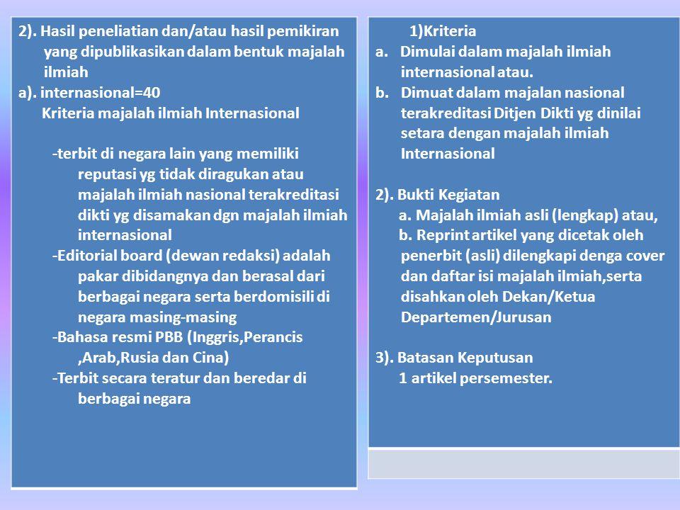 2). Hasil peneliatian dan/atau hasil pemikiran yang dipublikasikan dalam bentuk majalah ilmiah