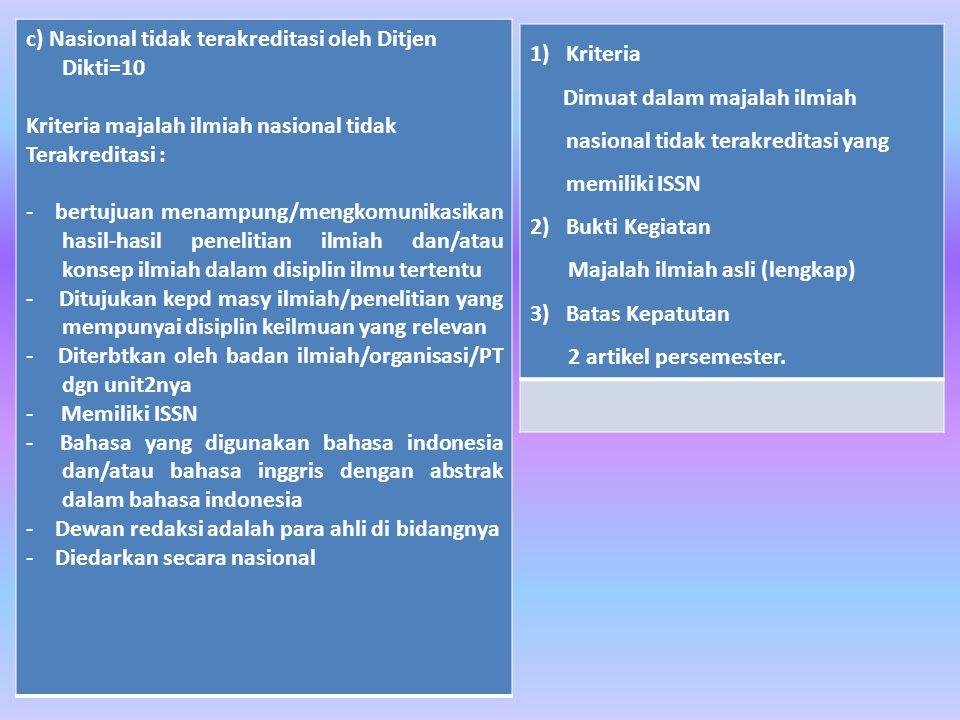 c) Nasional tidak terakreditasi oleh Ditjen Dikti=10