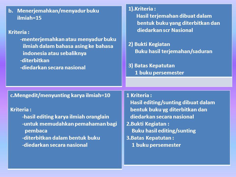 1).Kriteria : Hasil terjemahan dibuat dalam bentuk buku yang diterbitkan dan diedarkan scr Nasional.