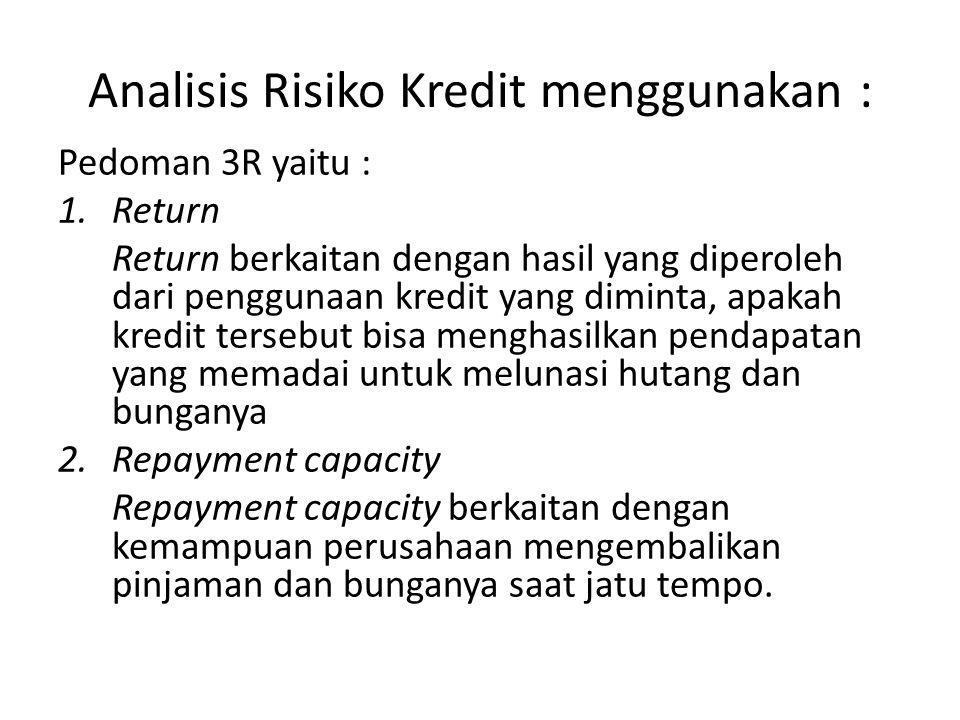 Analisis Risiko Kredit menggunakan :