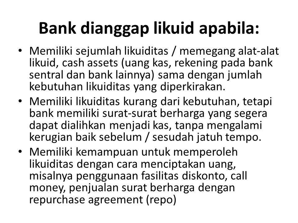 Bank dianggap likuid apabila: