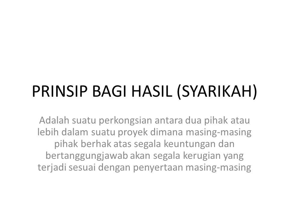 PRINSIP BAGI HASIL (SYARIKAH)