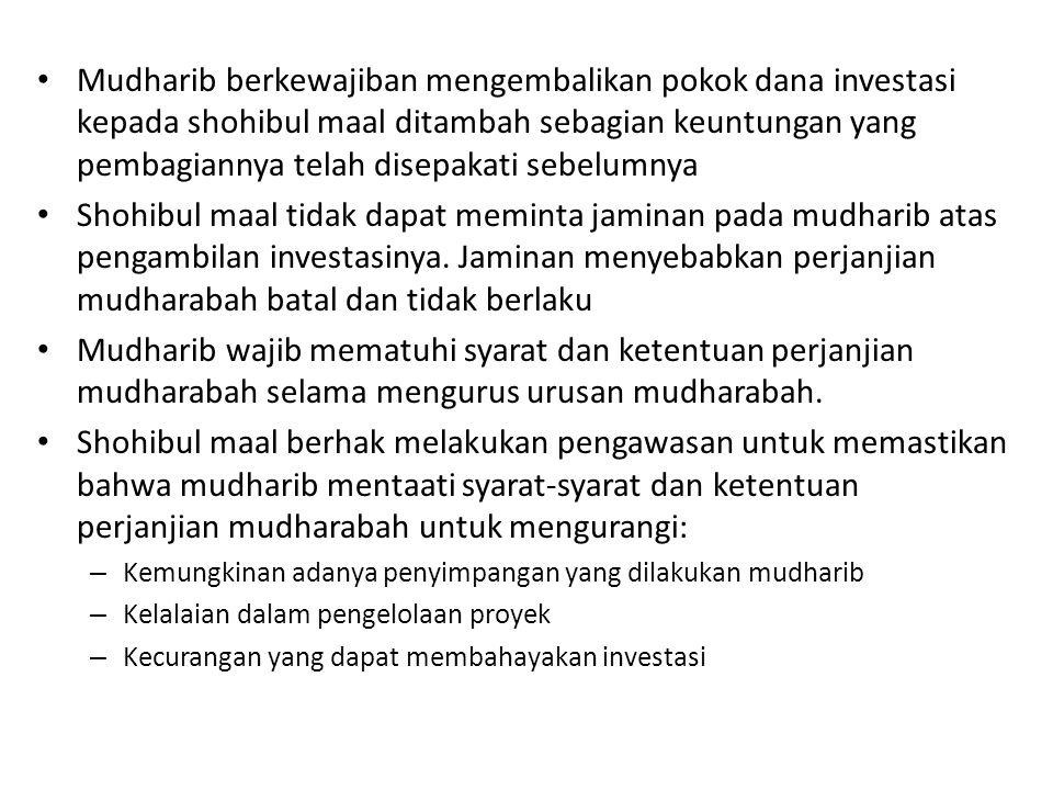 Mudharib berkewajiban mengembalikan pokok dana investasi kepada shohibul maal ditambah sebagian keuntungan yang pembagiannya telah disepakati sebelumnya