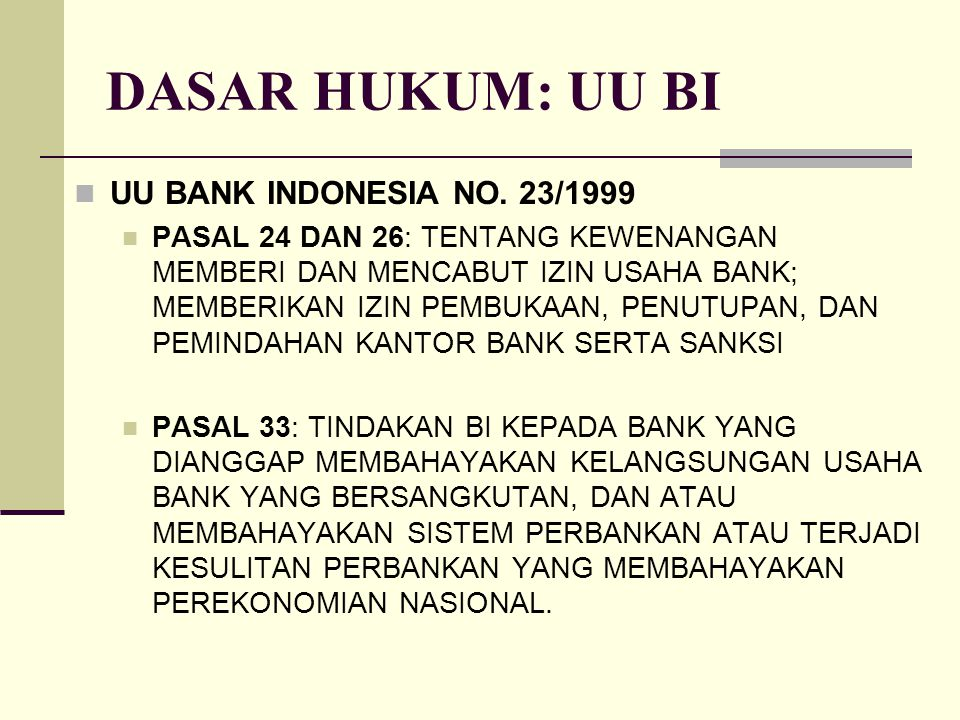 DASAR HUKUM: UU BI UU BANK INDONESIA NO. 23/1999