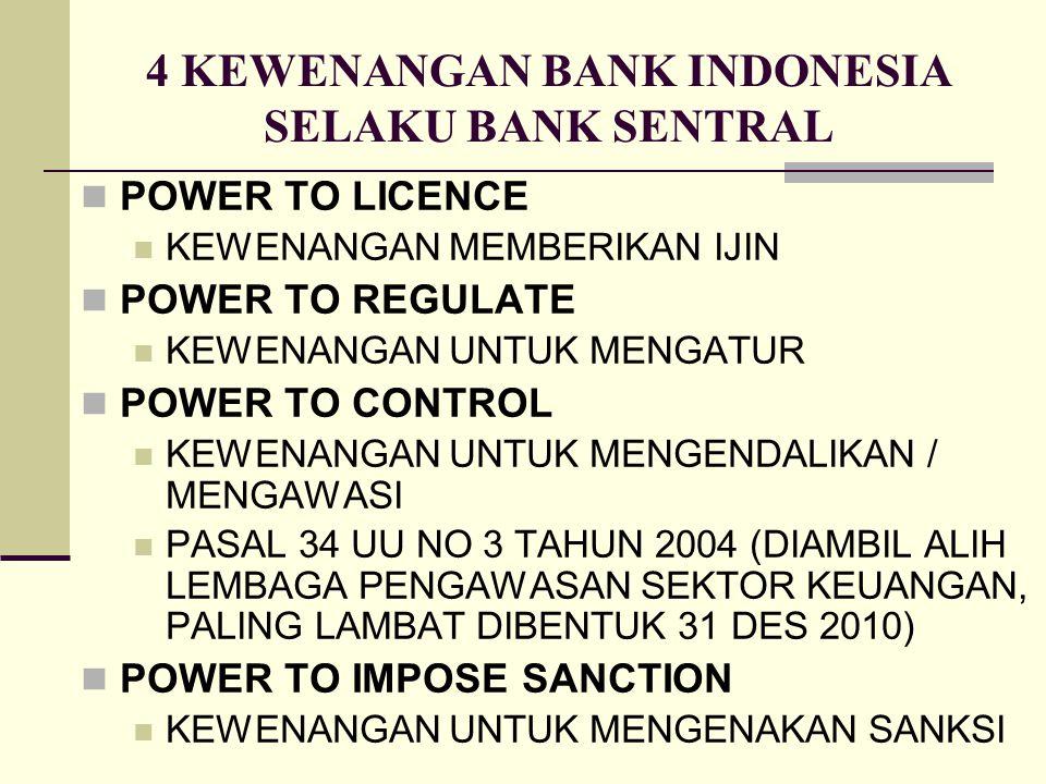 4 KEWENANGAN BANK INDONESIA SELAKU BANK SENTRAL