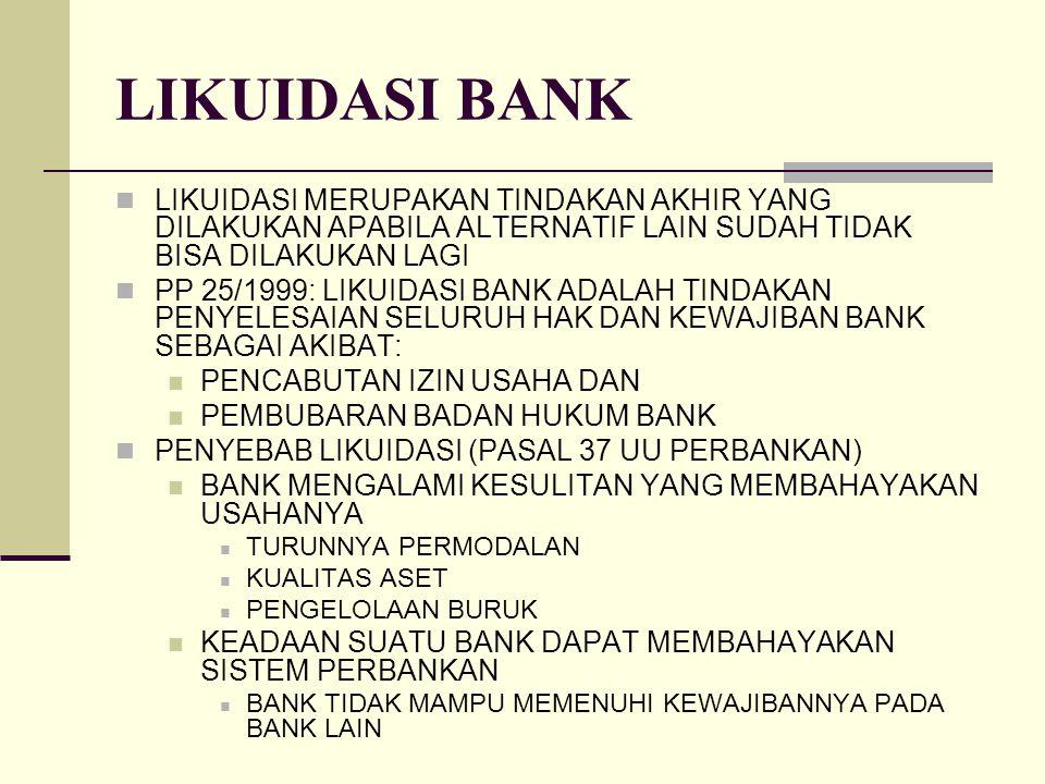LIKUIDASI BANK LIKUIDASI MERUPAKAN TINDAKAN AKHIR YANG DILAKUKAN APABILA ALTERNATIF LAIN SUDAH TIDAK BISA DILAKUKAN LAGI.