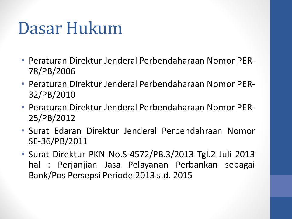 Dasar Hukum Peraturan Direktur Jenderal Perbendaharaan Nomor PER-78/PB/2006. Peraturan Direktur Jenderal Perbendaharaan Nomor PER-32/PB/2010.