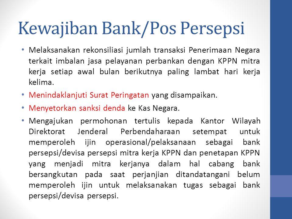 Kewajiban Bank/Pos Persepsi