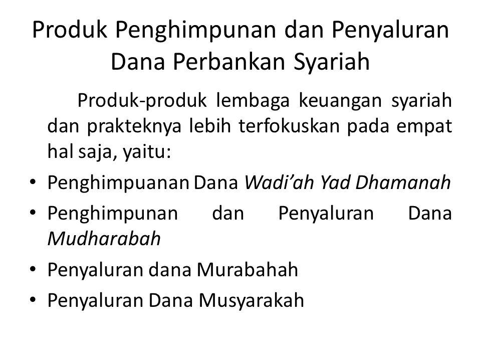 Produk Penghimpunan dan Penyaluran Dana Perbankan Syariah