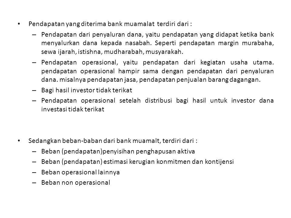 Pendapatan yang diterima bank muamalat terdiri dari :