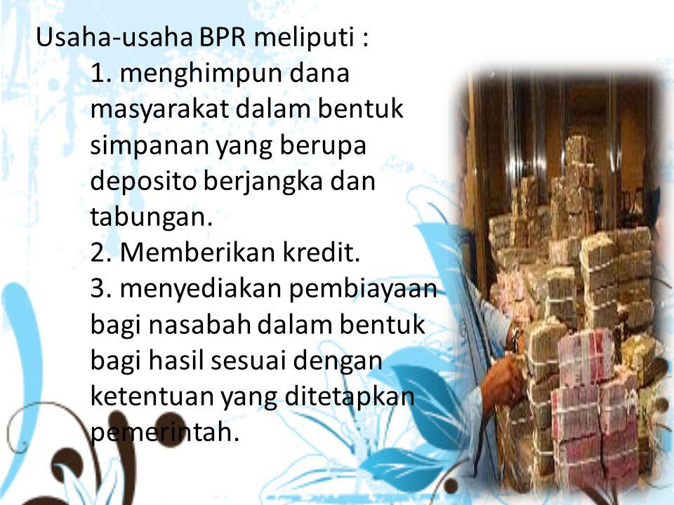 Usaha-usaha BPR meliputi : 1