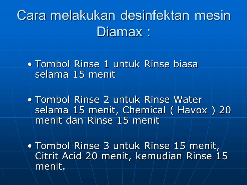 Cara melakukan desinfektan mesin Diamax :