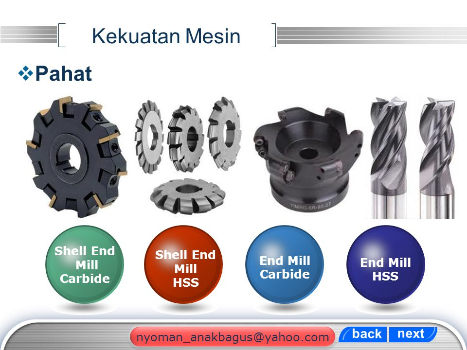 Kekuatan Mesin Pahat back next Shell End Shell End Mill Mill End Mill