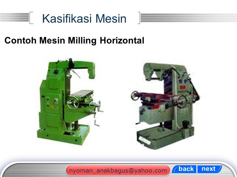Kasifikasi Mesin Contoh Mesin Milling Horizontal back next