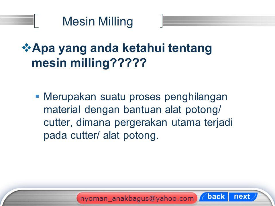 Apa yang anda ketahui tentang mesin milling