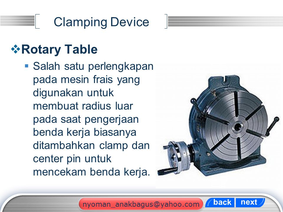 Clamping Device Rotary Table