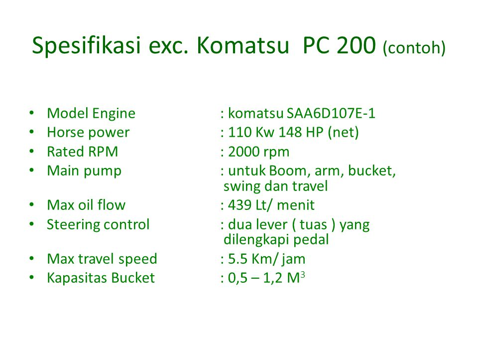Spesifikasi exc. Komatsu PC 200 (contoh)
