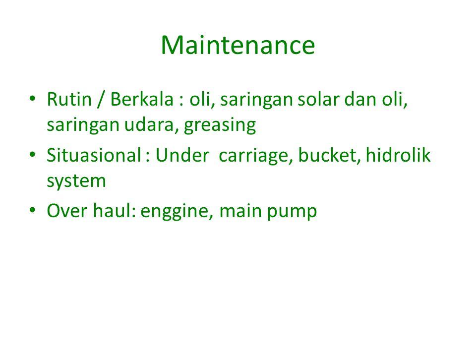 Maintenance Rutin / Berkala : oli, saringan solar dan oli, saringan udara, greasing. Situasional : Under carriage, bucket, hidrolik system.
