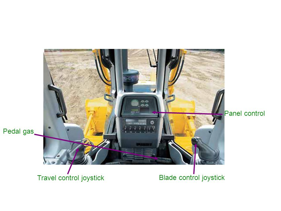 Panel control Pedal gas Travel control joystick Blade control joystick