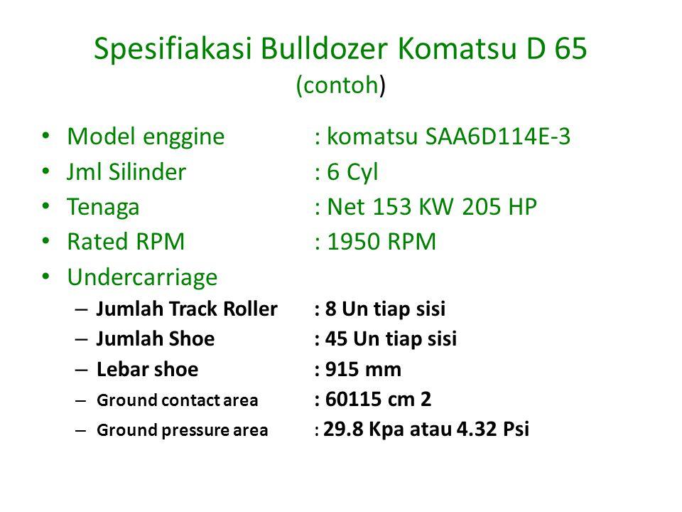 Spesifiakasi Bulldozer Komatsu D 65 (contoh)