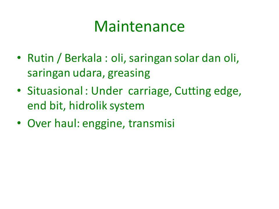 Maintenance Rutin / Berkala : oli, saringan solar dan oli, saringan udara, greasing.
