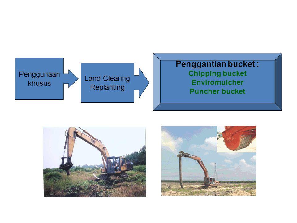 Penggantian bucket : Chipping bucket Enviromulcher Puncher bucket