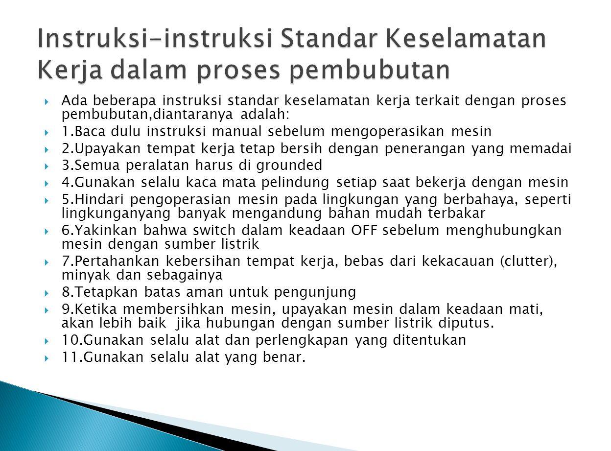 Instruksi-instruksi Standar Keselamatan Kerja dalam proses pembubutan