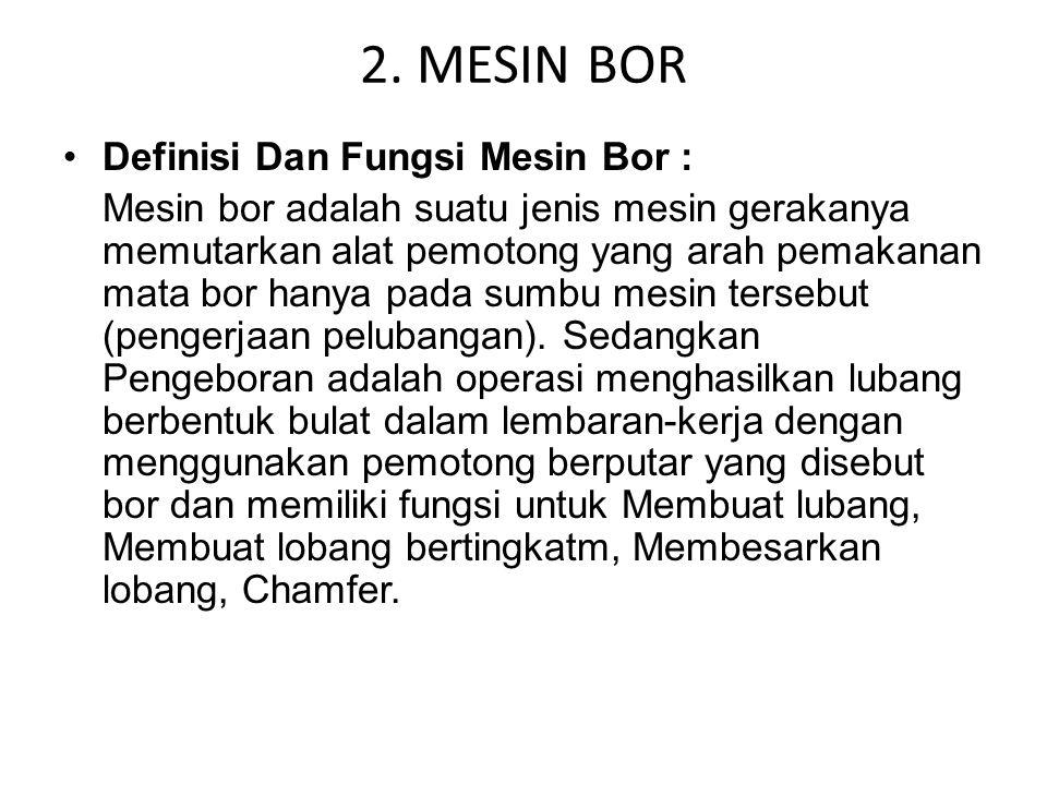2. MESIN BOR Definisi Dan Fungsi Mesin Bor :