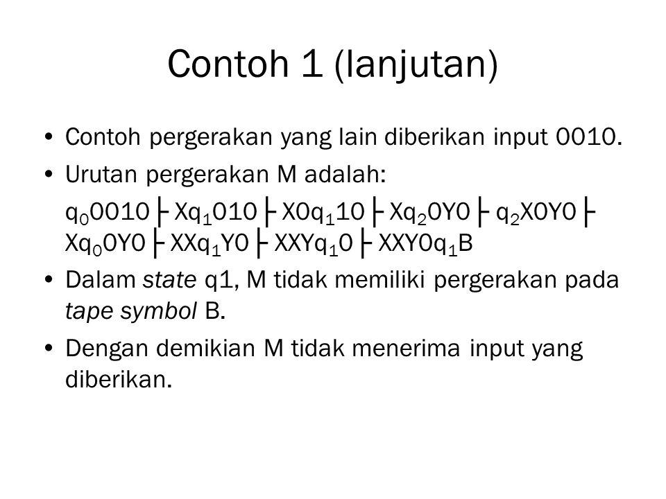 Contoh 1 (lanjutan) Contoh pergerakan yang lain diberikan input 0010.