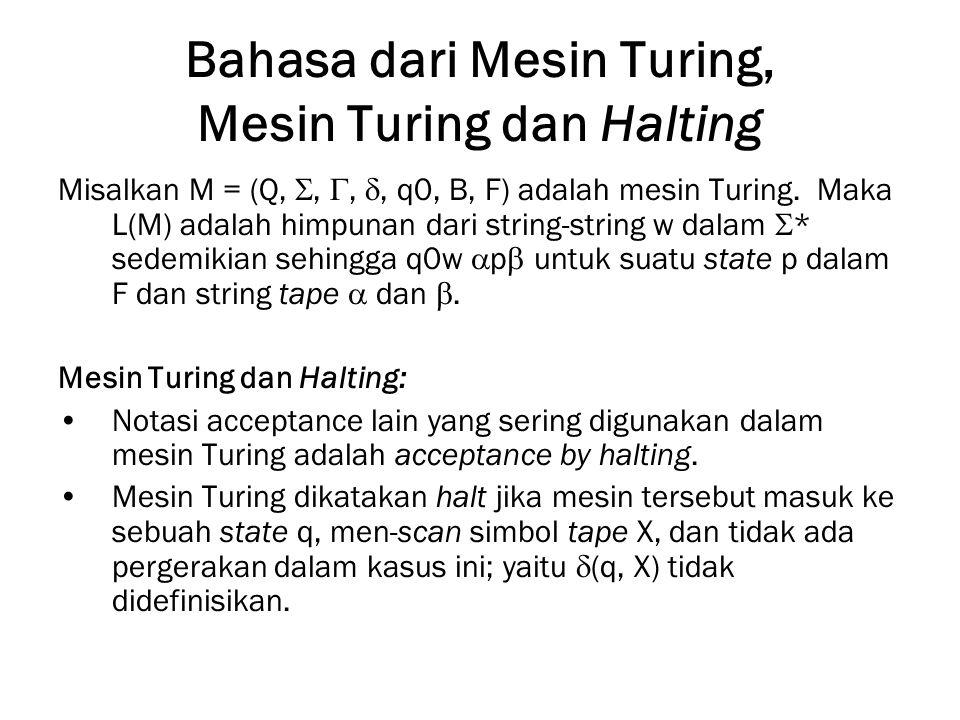 Bahasa dari Mesin Turing, Mesin Turing dan Halting