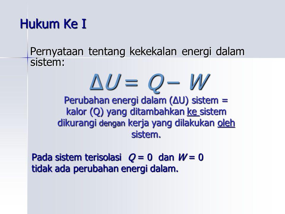 Hukum Ke I Pernyataan tentang kekekalan energi dalam sistem: