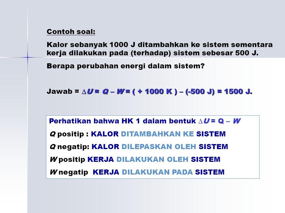Contoh soal: Kalor sebanyak 1000 J ditambahkan ke sistem sementara kerja dilakukan pada (terhadap) sistem sebesar 500 J.