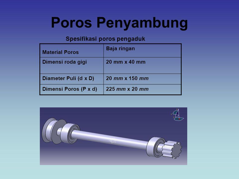 Poros Penyambung Spesifikasi poros pengaduk Material Poros Baja ringan