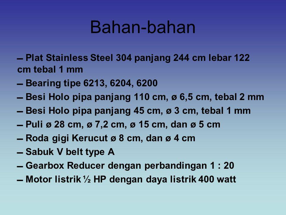 Bahan-bahan  Plat Stainless Steel 304 panjang 244 cm lebar 122 cm tebal 1 mm.  Bearing tipe 6213, 6204, 6200.