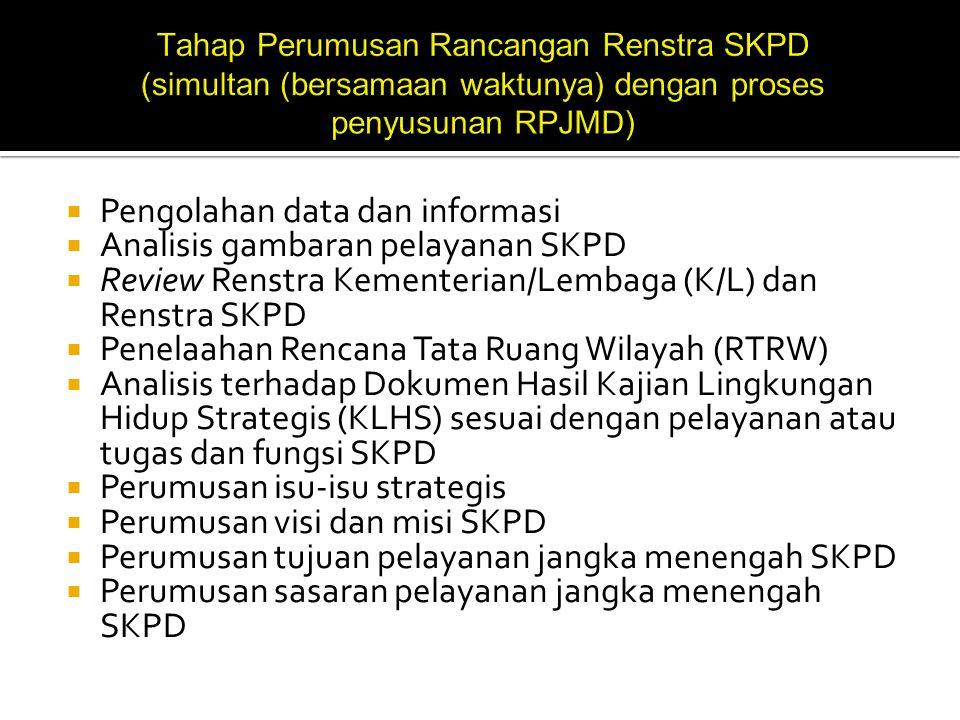 Pengolahan data dan informasi Analisis gambaran pelayanan SKPD