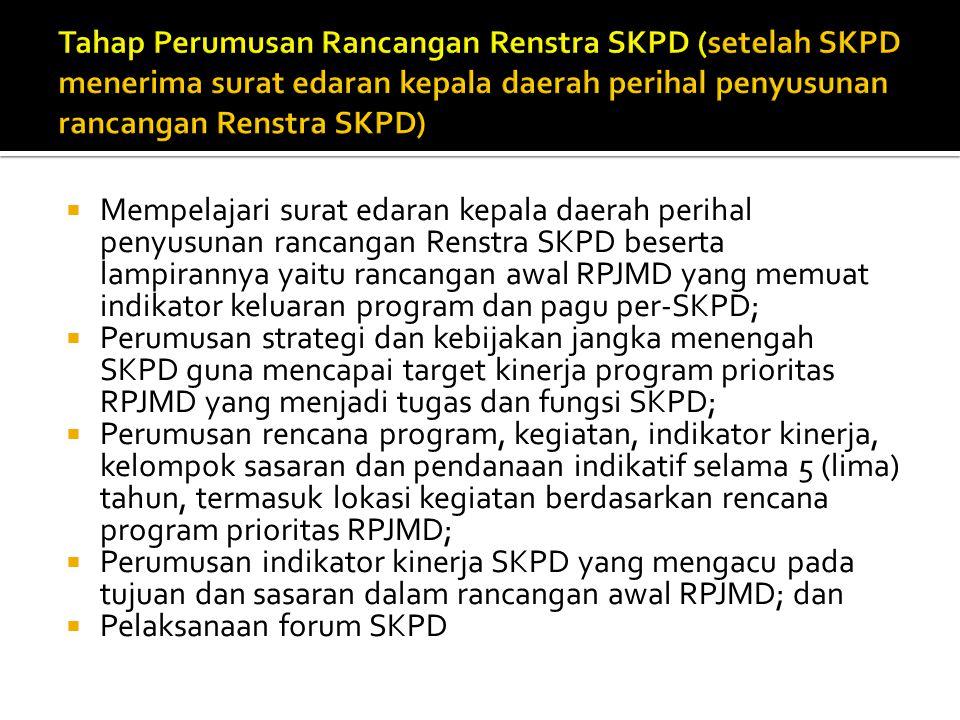Tahap Perumusan Rancangan Renstra SKPD (setelah SKPD menerima surat edaran kepala daerah perihal penyusunan rancangan Renstra SKPD)