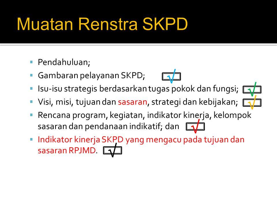 Muatan Renstra SKPD √ √ √ √ √ Pendahuluan; Gambaran pelayanan SKPD;