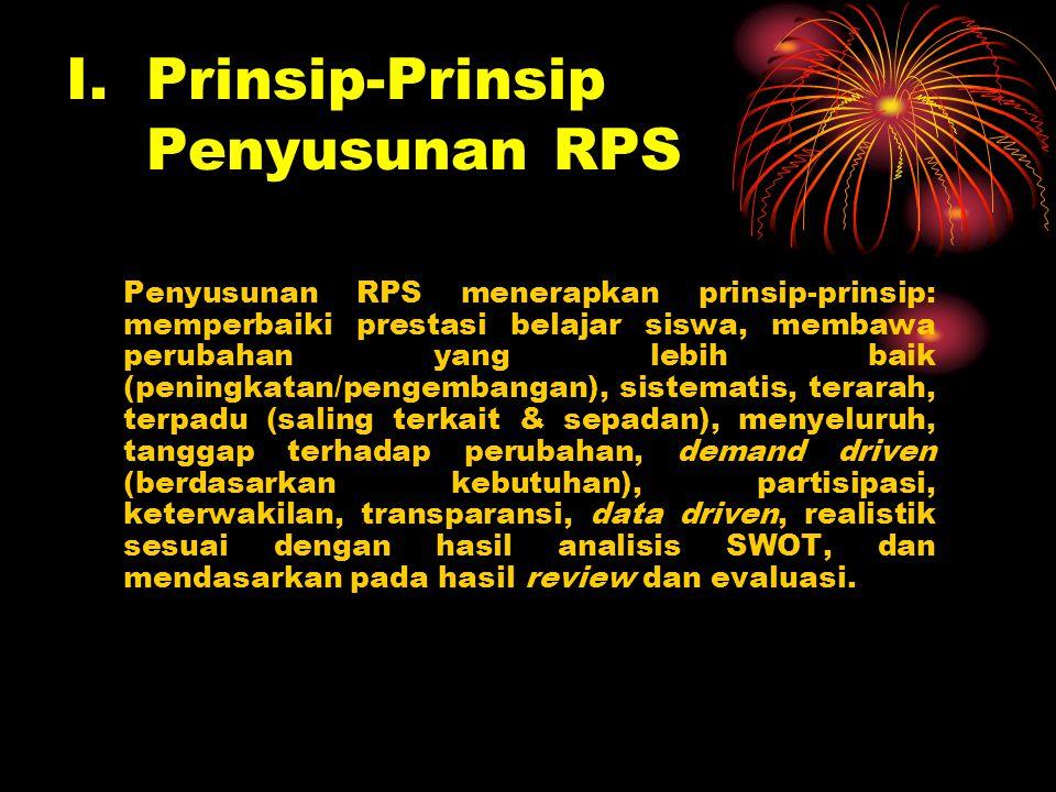 I. Prinsip-Prinsip Penyusunan RPS