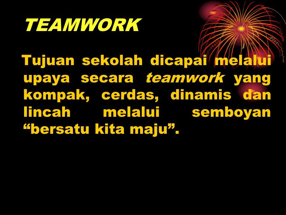 TEAMWORK Tujuan sekolah dicapai melalui upaya secara teamwork yang kompak, cerdas, dinamis dan lincah melalui semboyan bersatu kita maju .