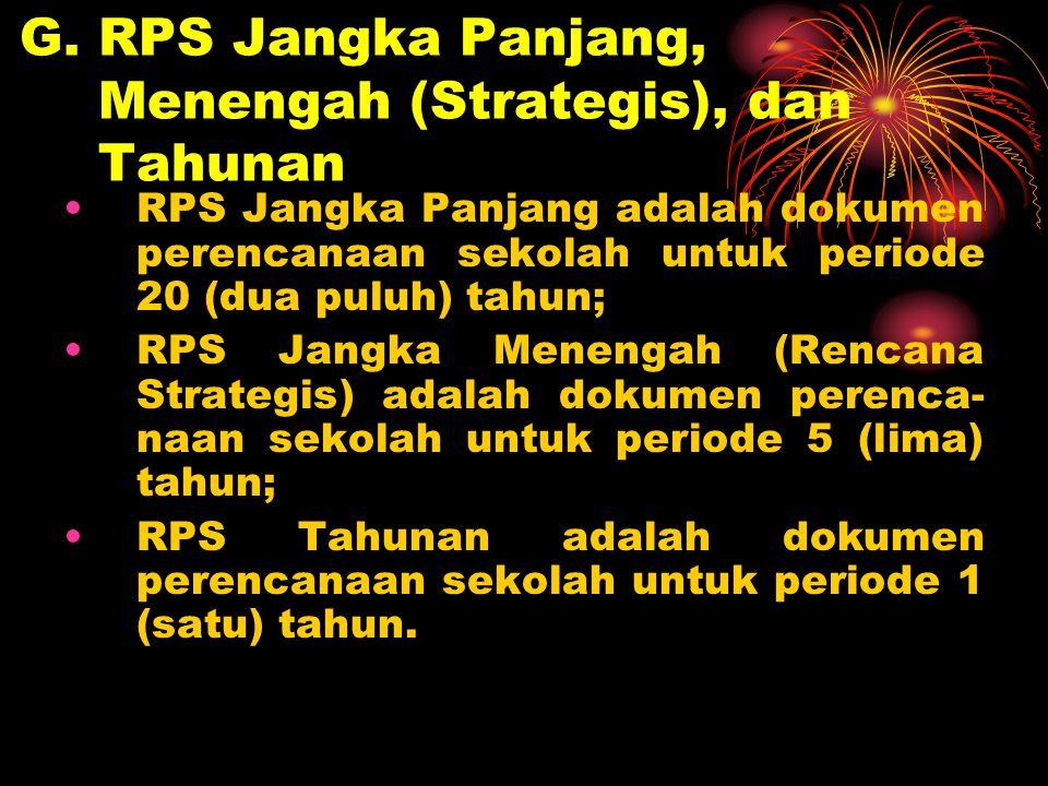 G. RPS Jangka Panjang, Menengah (Strategis), dan Tahunan