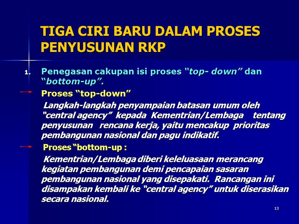 TIGA CIRI BARU DALAM PROSES PENYUSUNAN RKP