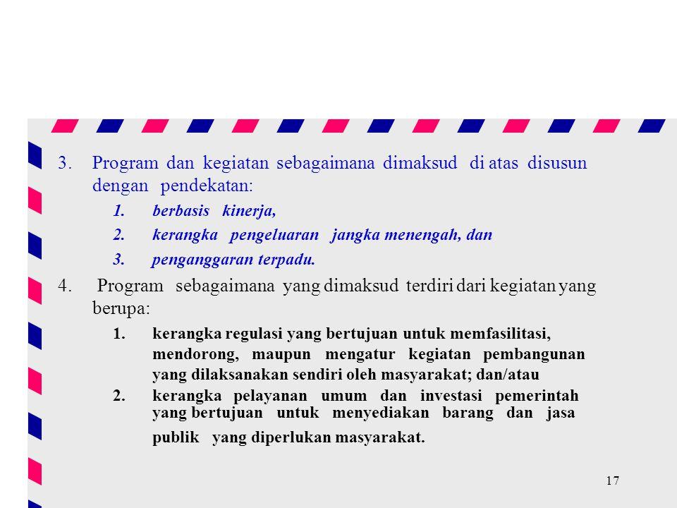 Program sebagaimana yang dimaksud terdiri dari kegiatan yang berupa: