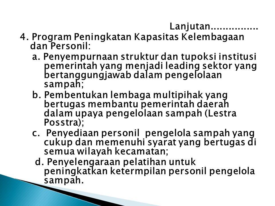 Lanjutan................ 4. Program Peningkatan Kapasitas Kelembagaan dan Personil: