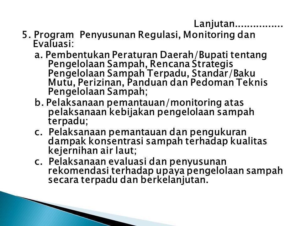 Lanjutan................ 5. Program Penyusunan Regulasi, Monitoring dan Evaluasi: