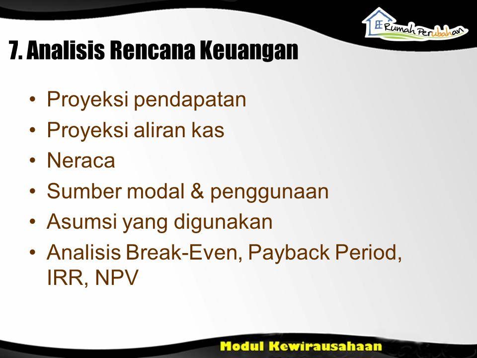 7. Analisis Rencana Keuangan