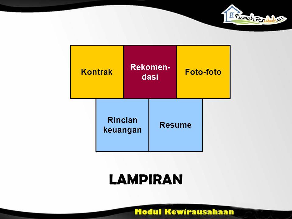 Kontrak Rekomen- dasi Foto-foto Rincian keuangan Resume LAMPIRAN